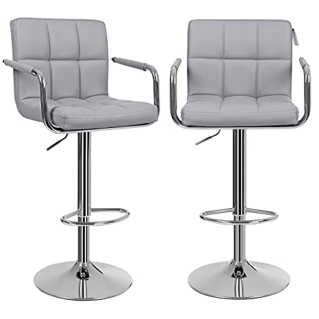 Tremendous Songmics Bar Stools Set Of 2 Height Adjustable Bar Chairs In Synthetic Leather 3600 Swivel Kitchen Stool With Backrest And Footrest Grey Ljb93Guk Ibusinesslaw Wood Chair Design Ideas Ibusinesslaworg