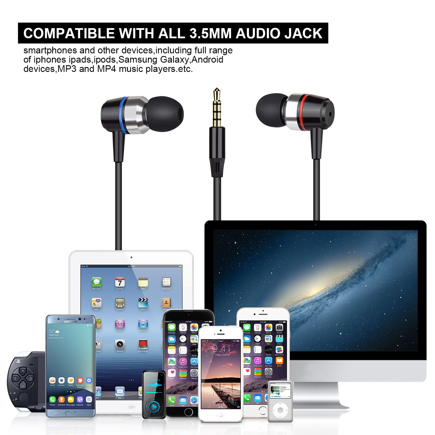 Earbuds Stereo Earphones In-Ear Headphones Earbuds with Microphone Mic and Volume Control Noise Isolating Wired Ear buds For iPhone Android Phone iPad Tablet Laptop(Black) by Gsebr (Image #5)
