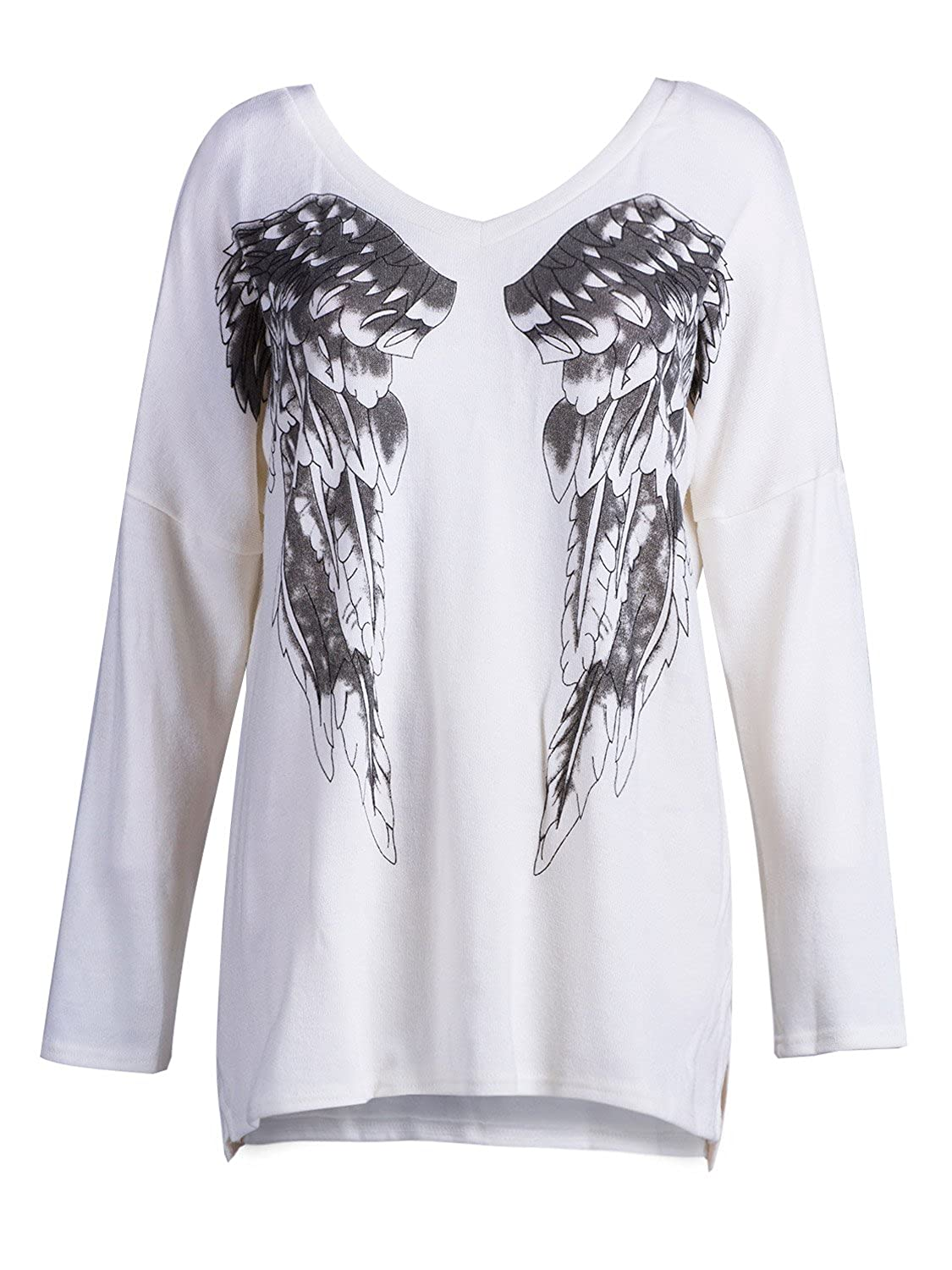 Choies Women Angel Wings Print Loose Fit Knitted Long Sleeve T-Shirt,White
