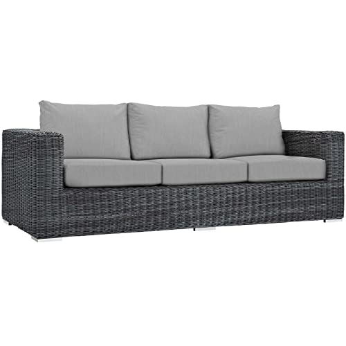 Modway EEI-1874-GRY-GRY Summon Outdoor Patio Sunbrella Sofa in Canvas Gray