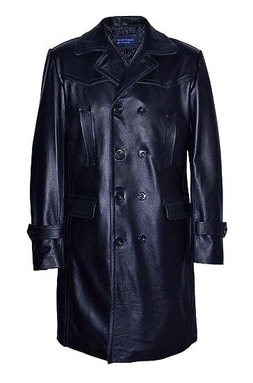 eceef25fa68d0 Men s UBOAT LONG Black German WW2 UBoat Reefer Genuine Cowhide Leather  Jacket Coat (Small)