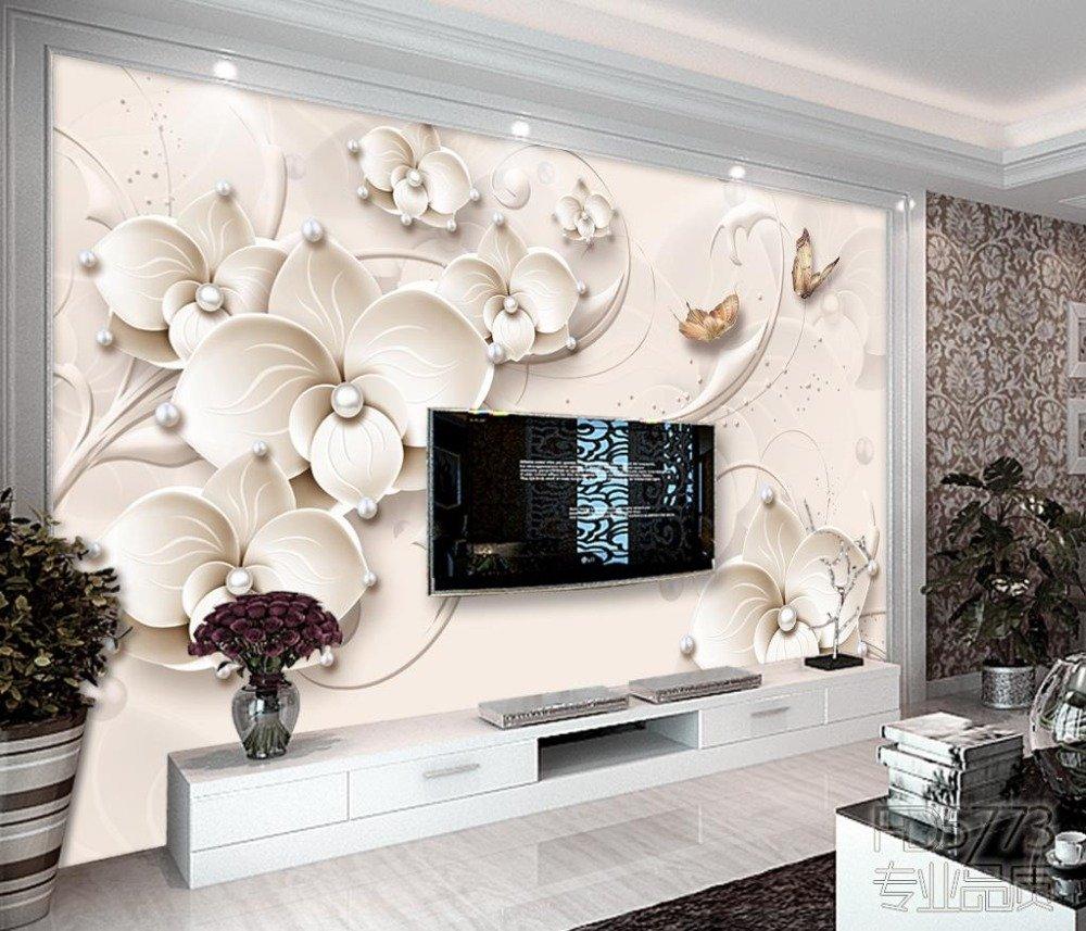 LWCX Wall Mural Luxury Flower Butterfly Wallpapers Tv Living ...