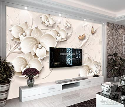LWCX Wall Mural Luxury Flower Butterfly Wallpapers Tv Living Room ...