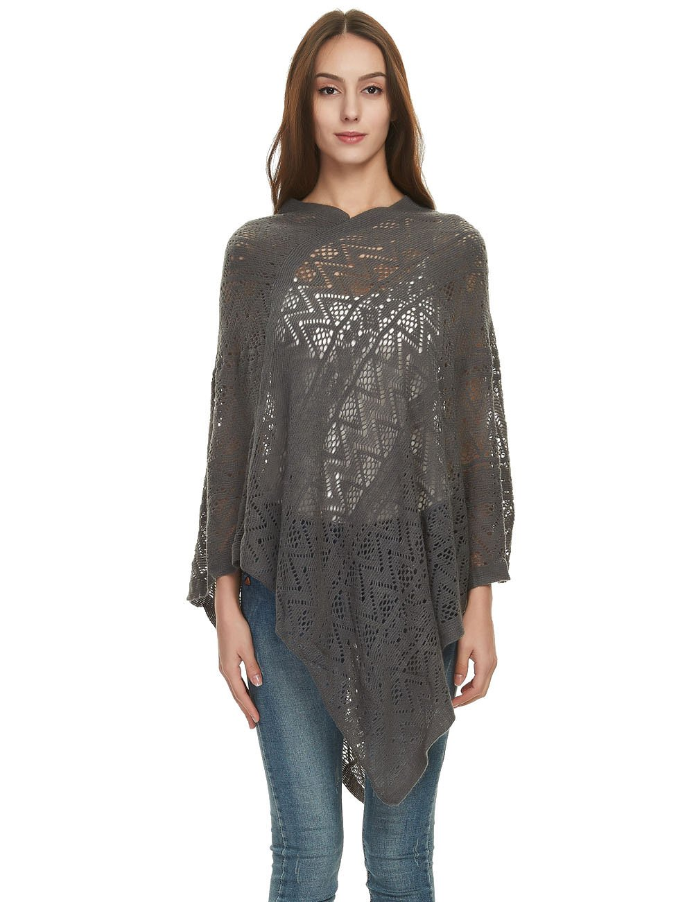 Ferand Crochet Thin Poncho Shawl Wrap with Asymmetric Hem Casual Tops for Women, One Size, Dark gray