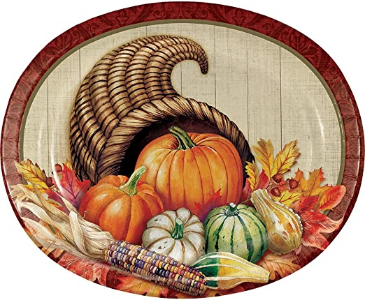 Bountiful Thanksgiving Cornucopia 8 Ct Oval Banquet Platters