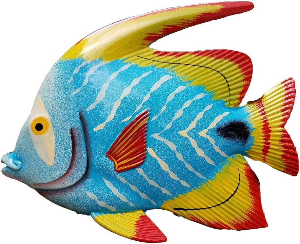 "Large 10"" x 7.5"" Acrylic Resin Decorative Indoor/Outdoor Tropical Fish Wall Decor"
