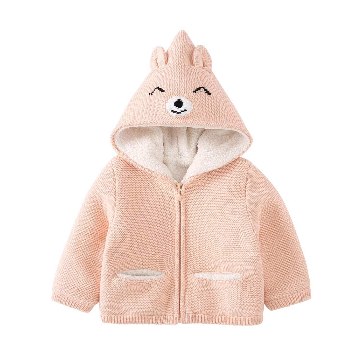 pureborn Baby Girl Hooded Cartoon Bear Zip-Up Sweater Jacket with Plush Lining Pink 1-2 Years by pureborn