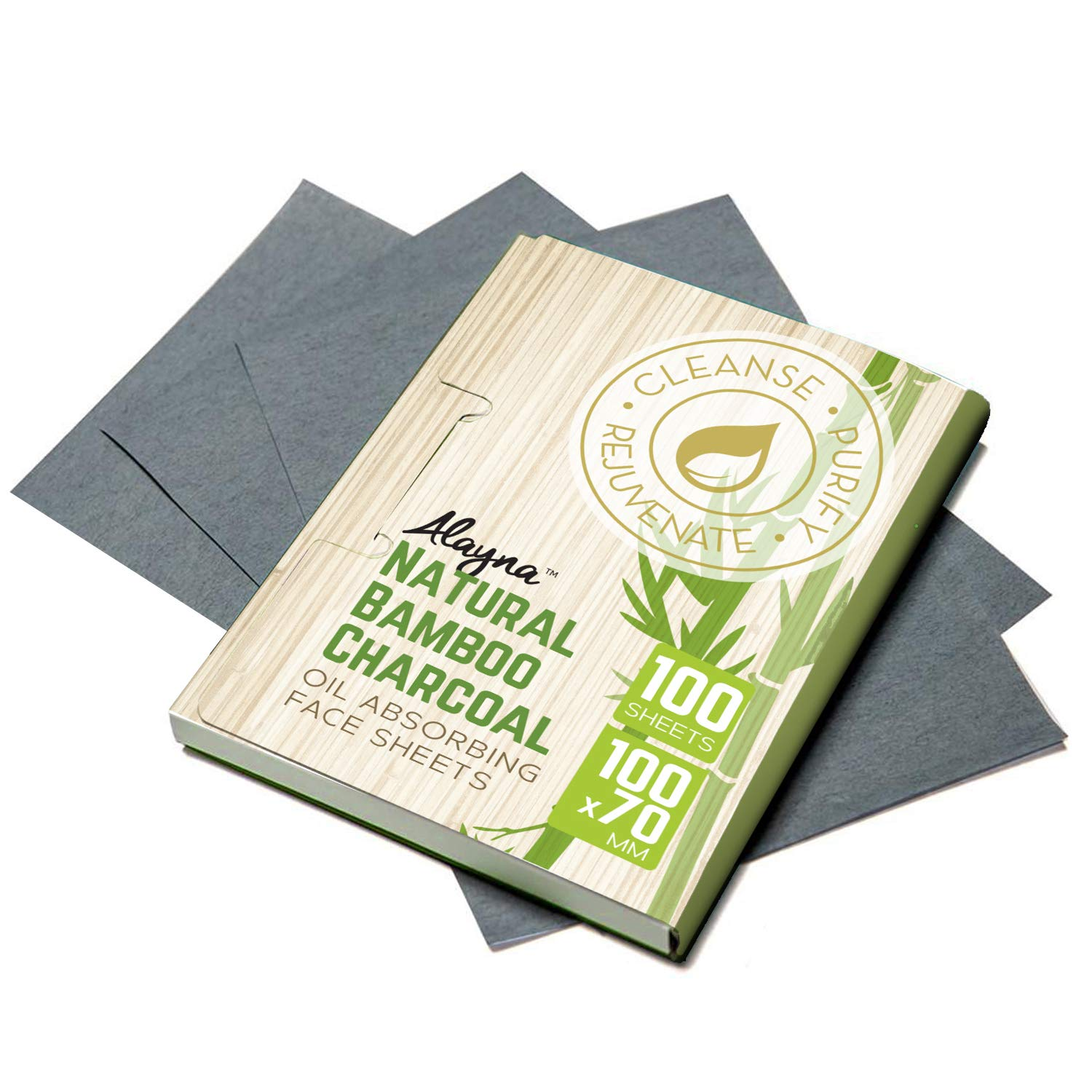 (3 PK) Oil Blotting Sheets- Natural Bamboo Charcoal Oil Absorbing Tissues- 300 Pcs Organic Blotting Paper- Beauty Blotters for the Face- Papers Remove Excess Shine- For Facial Make Up & Skin Care by Alayna TM