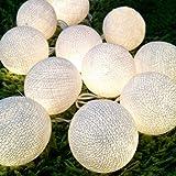 Tonka Cotton Ball Patio Party String Lights Decor