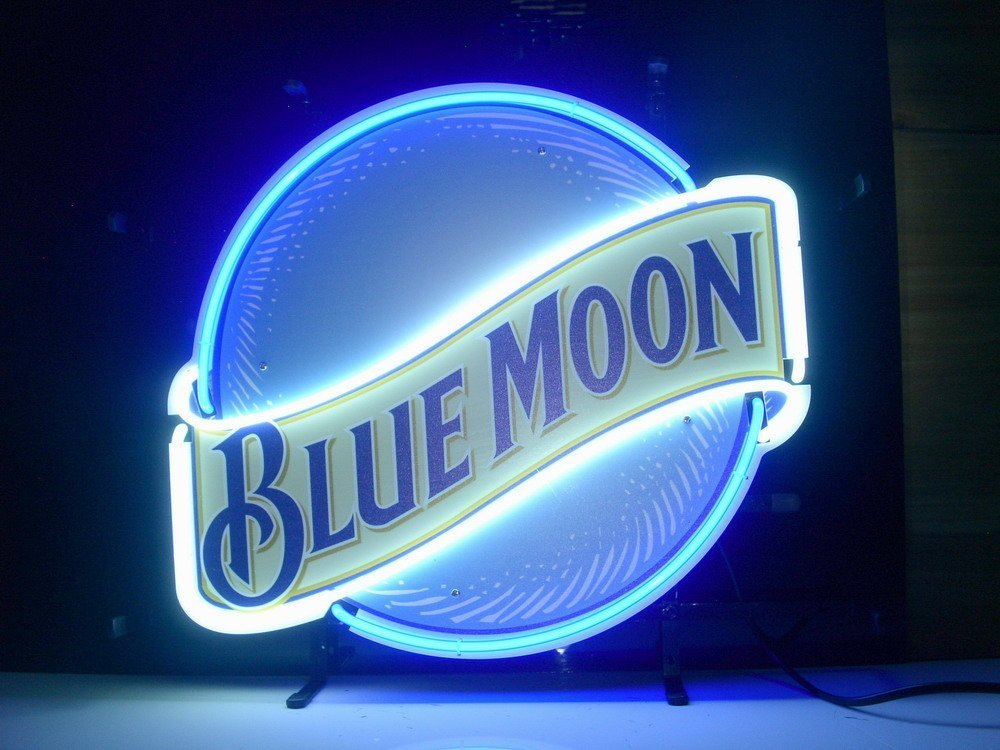 QUEEN SENSE® Blue Moon Neon Light Sign Home Beer Bar Pub Recreation Room Game Room Windows Garage Wall Sign L123X by Queen Sense