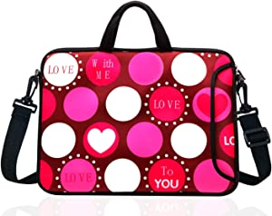 "TAIDY 17 to 17.3-Inch Neoprene Laptop Shoulder Bag Sleeve Case for 17""- 17.3"" MacBook/Ultrabook/HP/Acer/Asus/Lenovo (Red Heart)"