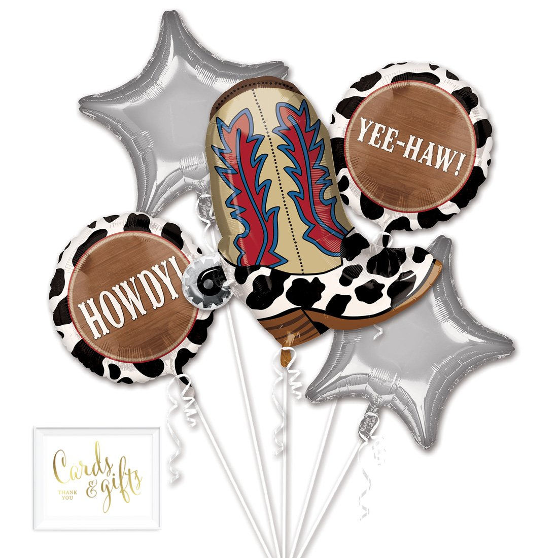 Andaz Press Balloon Bouquet Party Kit with Gold Cards & Gifts Sign, Yeehaw Foil Mylar Balloon Country Western Cowboy Cowgirl Decorations, 1-Set