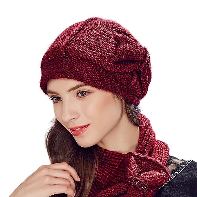 036af746063 Kenmont Lady Hand Knitted Winter Cozy Warm Snowboard Women Beanie Hat Ski  Cap (Purplish red
