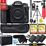 Nikon D500 20.9 MP CMOS DX Format Digital SLR Camera with 4K Video Body Bundle with 2X 32GB Memory Card, 2X Battery, Battery Grip, Microphone, 1 Year Extended Warranty and Accessories (13 Items)