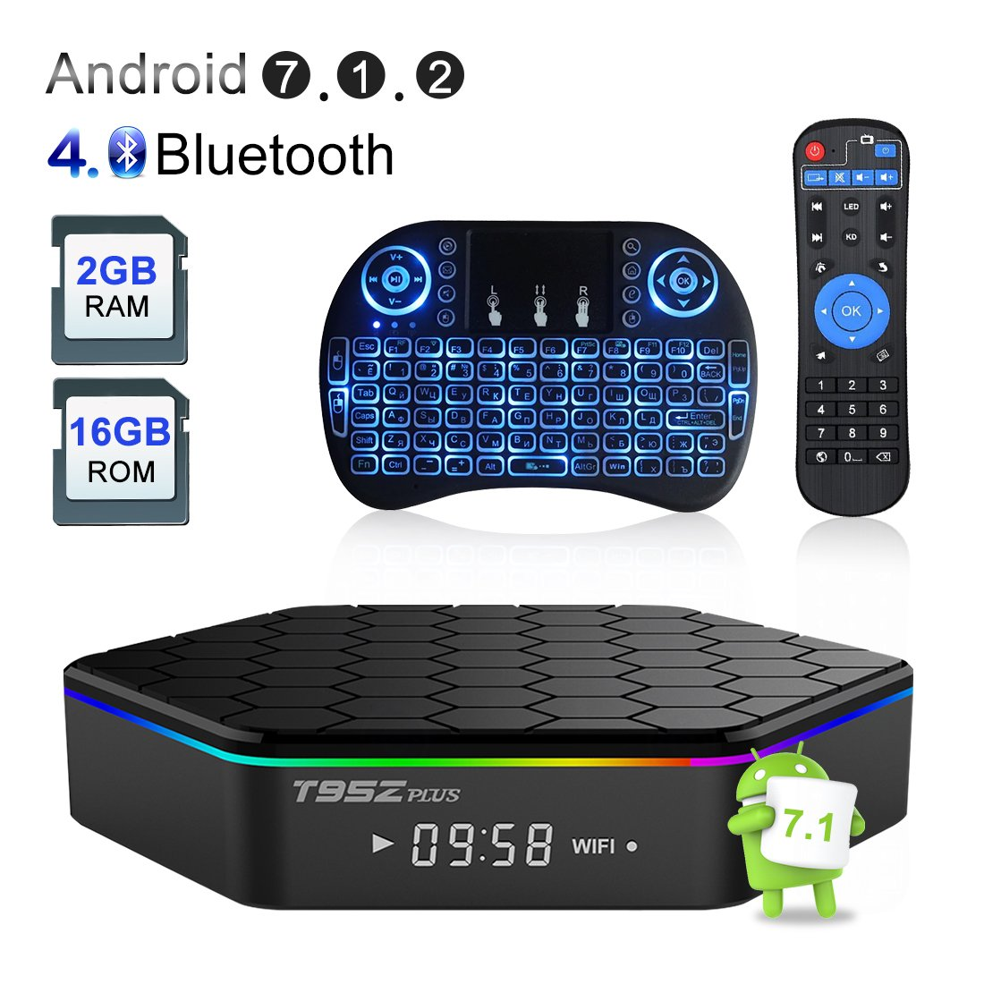 IVSUN T95Z PLUS Android 7.1 TV BOX, Amlogic S912 Octa Core 2GB RAM 16GB ROM Support Dual WiFi 2.4G/5GHz 1000M LAN BT 4.0 UHD 4K 3D Smart TV Boxes with Mini Wireless Keyboard (BACKLIT)