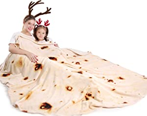 mermaker Burritos Tortilla Blanket 2.0 Double Sided 71 inches for Adult and Kids, Giant Funny Realistic Food Throw Blanket, 285 GSM Novelty Soft Flannel Taco Blanket (Yellow Blanket-Double Sided)
