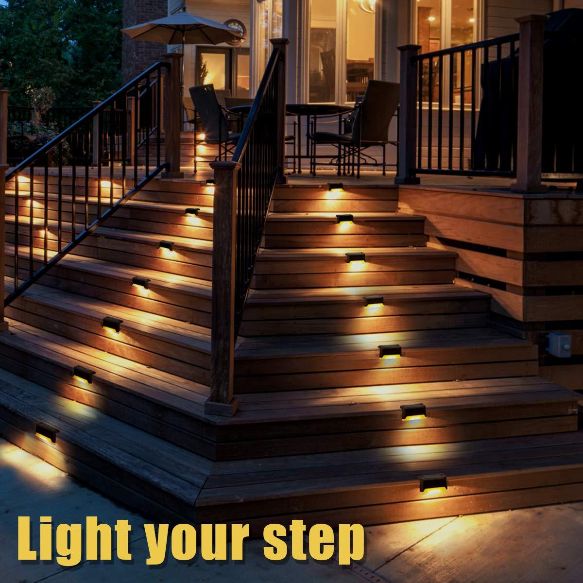 Amazon.com: Gigalumi 12 luces solares para terraza, acabado ...