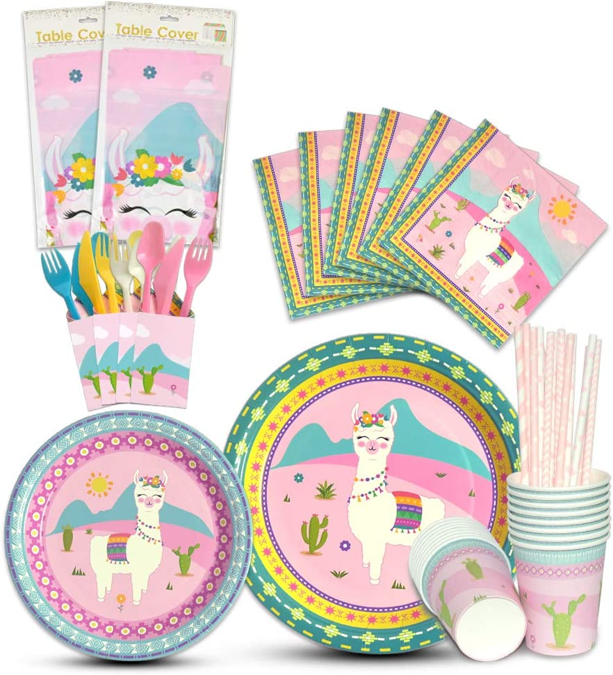 WERNNSAI Llama Tableware Set 146 PCS Alpaca Pink Party Supplies for Girl Kids Birthday Baby Shower Includes Cutlery Bag Table Cover Plates Cups Napkins Straws Utensils Serves 16 Guests