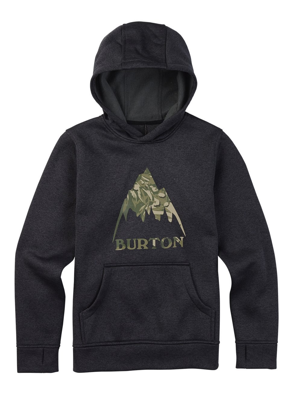 Burton 162181 Boys Oak Pullover Hoodie, True Black Heather, X-Large