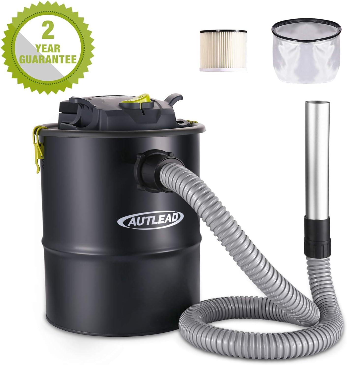 aspirador de cenizas, autlead 15L 900 W Cubo Aspiradora para chimenea, con filtro HEPA y bolsa anti-blocco resistente al Fuego, Motor de Cobre, para Playa, estufas, quemadores A cepas, parrillas wdh3 a: