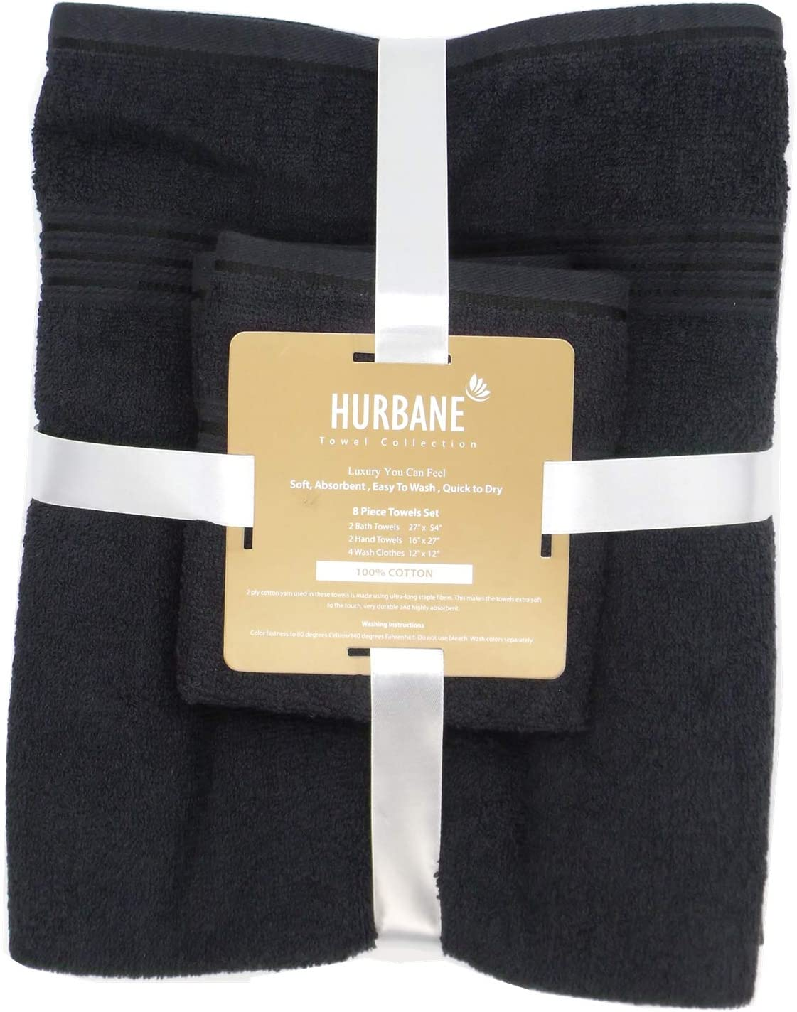Hurbane Premium 8 Piece 550 Gsm 2 Ply 100 Cotton Luxury Towel Set With 2 Bath Towels 2 Hand Towels 4 Wash Cloth Better Than 5 Star Hotel Grade Black Kitchen Dining