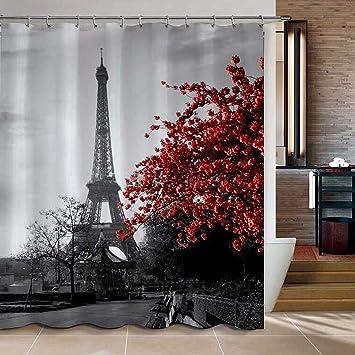 uphome 72 x 78 inch waterproof grey paris eiffel tower custom bathroom shower curtain cityscape