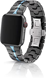 38/40mm JUUK Vitero Cerulean Premium Watch Band Made for The Apple Watch, Using Aircraft Grade, Hard Anodized 6000 Series Aluminum with a Solid Stainless Steel Butterfly deployant Buckle (Matte)