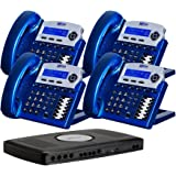 X16 6-Line Small Office Phone System with 4 Vivid Blue  X16 Telephones - Auto Attendant, Voicemail, Caller ID, Paging & Intercom