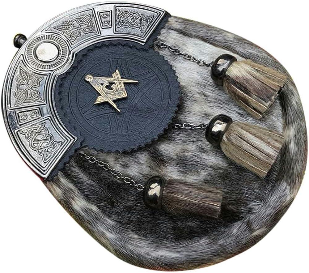 Scottish Men's Full Dress Kilt Seal Skin Sporran Celtic Cantle Antique Finish