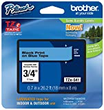 "Genuine Brother 3/4"" (18mm) Black on Blue TZe P-touch Tape for Brother PT-9700PC, PT9700PC Label Maker"
