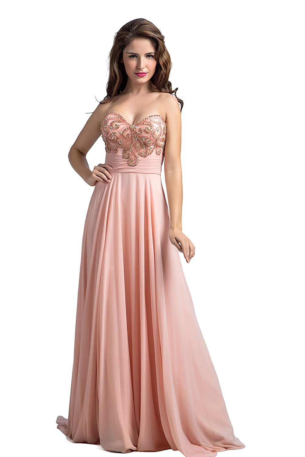 Bridal_Mall Women's Sweetheart Crystal Diner Party Chiffon Bridesmaid Prom Dresses