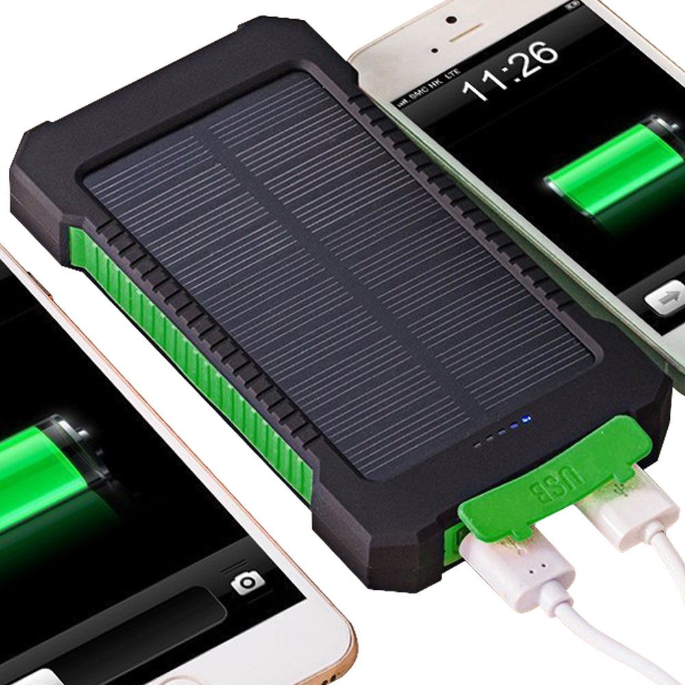 Solar Charger, Coversuit 30000mAh Dual USB Solar Battery Charger External Battery Pack Phone Charger Power Bank with Flashlight (GREEN)