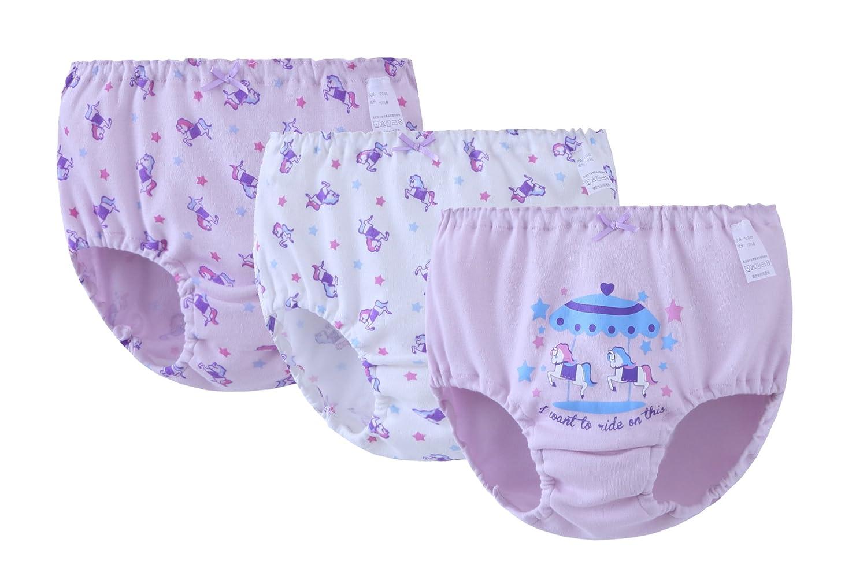ABClothing 3 Pcs Kids Girls 'Cute Knickers Boxers Mémoires Coton Sous-Vêtements Shorts Boyshort Purple