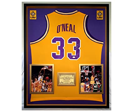 83d45450bbf Image Unavailable. Image not available for. Color: Premium Framed Shaquille  O'Neal Autographed/Signed LSU Tigers Jersey ...