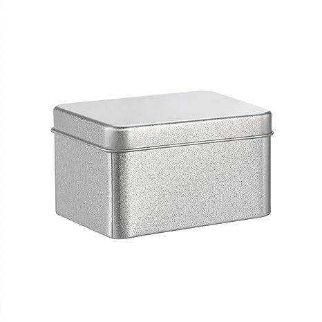 BESTONZON Cajas metálicas cuadradas de metal plateado Cajas metálicas transparentes para velas, comida, manualidades