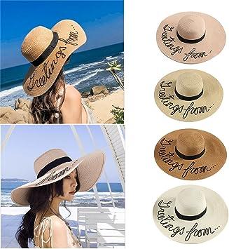FWJ Strohhut Damen gro/ße breite Krempe Shell Quaste Stroh Sonnenhut Faltbare Sommer Strand H/üte Cowboyhut