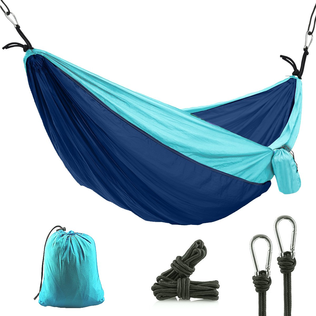 CUNXIA Camping Hammock, Single Outdoor Travel Hammock, Portable Nylon Parachute Hammock with Tree Straps for Camping Hiking Backpacking