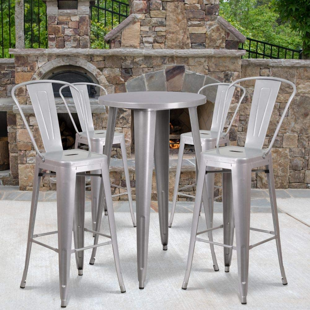 """Flash Furniture Commercial Grade 24"""" Round Silver Metal Indoor-Outdoor Bar Table Set with 4 Cafe Stools"""