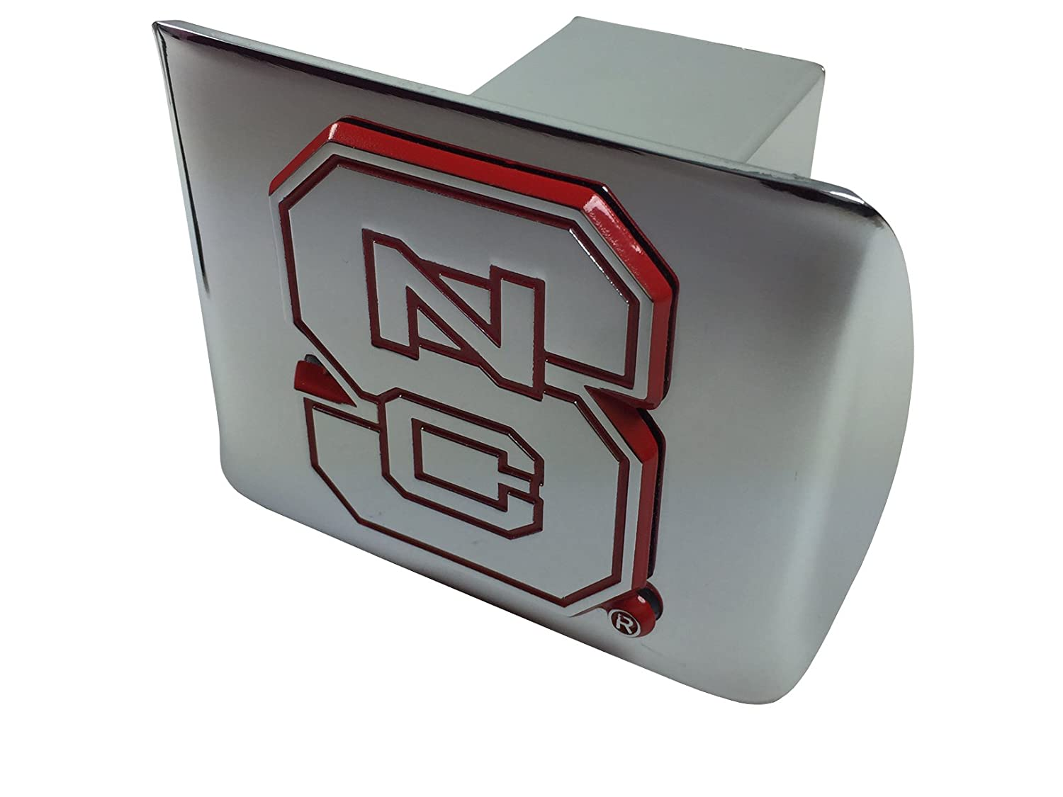 chrome with red trim on chrome METAL Hitch Cover AMG North Carolina State University METAL emblem