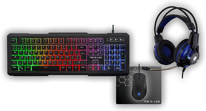 The G-Lab – Combo Xenon - Pack Gaming - Teclado ES Retroiluminado de Alto Rendimiento - Ratón Alta Precisión - Auriculares Tecnología X-TRA Bass + ...