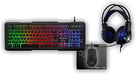 The G-Lab – Combo Xenon - Pack Gaming - Teclado ES Retroiluminado de Alto Rendimiento - Ratón Alta Precisión - Auriculares Tecnología X-TRA Bass + Alfombrilla Antideslizante: The: Amazon.es: Informática