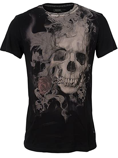 554ff940 Religion Men's Smoking Skull T-Shirt, Black, Small: Amazon.co.uk ...