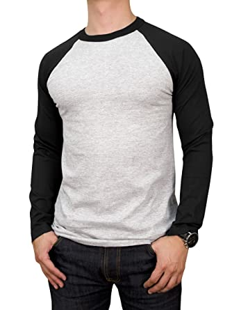 Teejoy Men's Cotton Full Raglan Sleeve Baseball Tee Shirt at ...