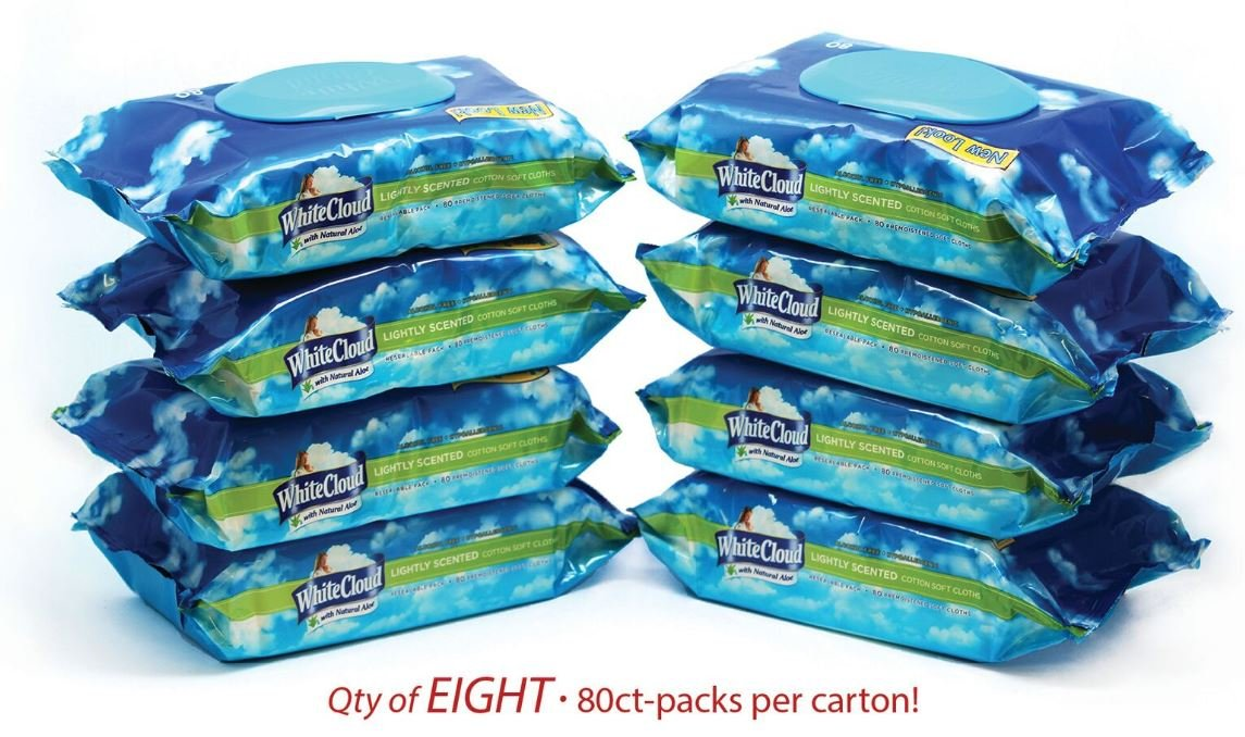 White Cloud Lightly Scented Baby Wipes 8 packs per carton