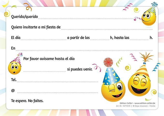 Edition Colibri 10 Invitaciones Cumpleaños Infantil En Español Emoticonos Juego De 10 Invitaciones Graciosas Tipo Smiley 10719 Es