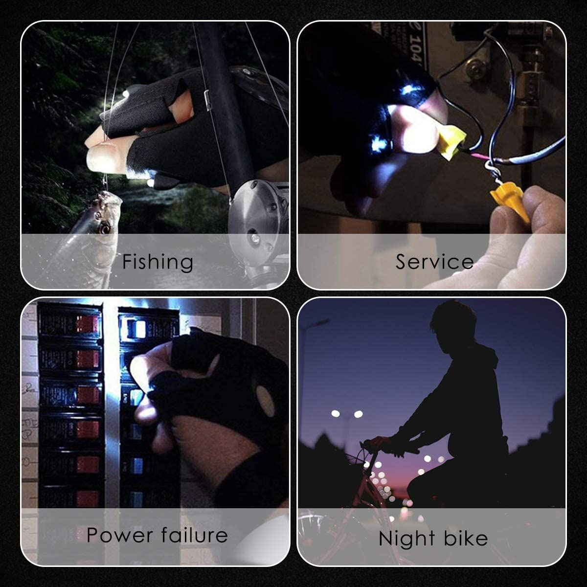 Cycling and Outdoor Activities Light Gloves Outdoor Fishing Gloves Perfect for Camping Cool Gift for Men LED Flashlight Gloves 2 Pairs Fishing Night Running Birthday Gifts for Man and Woman