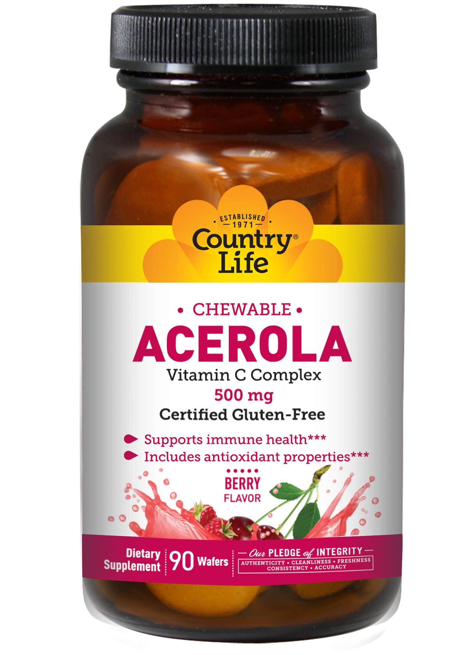 Country Life Acerola 500mg Chewable Vitamin C Complex Natural Antioxidants & Citrus Bioflavonoids for Powerful Immune Health Support - Gluten-Free, Vegan Berry Flavor - 90 Wafers