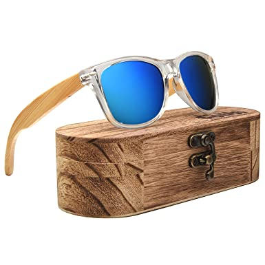 0062baa8101 Image Unavailable. Image not available for. Color  Ablibi Wooden Bamboo  Sunglasses Polarized Mens Shades Clear Frame UV400 ...