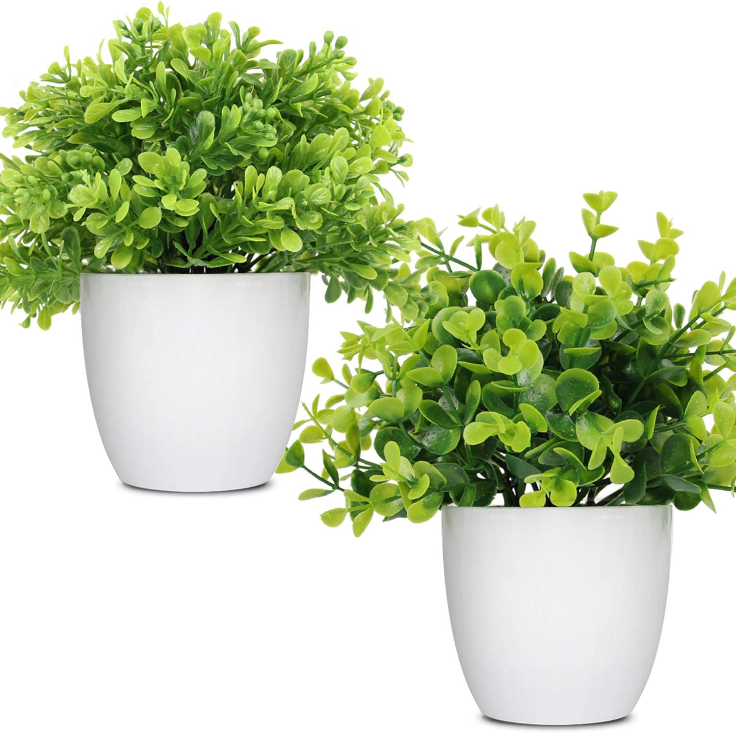 LELEE Artificial Potted Plants Mini Fake Plants,2 Pack Small Eucalyptus Potted Faux Decorative Grass Plant with White Plastic Pot for Home Decor, Indoor, Office, Desk, Table Decoration