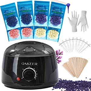 Waxing Kit Painless Hair Removal Wax Warmer Kit Thick Long Hair Own Waxing at Home,Everything You Need for Waxing Novice with 8 Bags Brazilian Wax(14.1Oz / 400g)